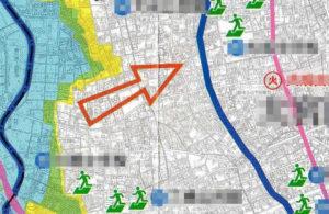 避難方向を示すマップ