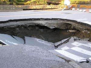 液状化による道路の空洞化